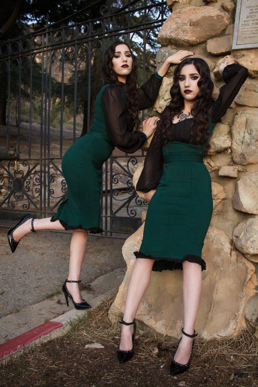 32b09709c Aziza Dress in Hunter Green Ponte by Elvira Mistress of the Dark ...