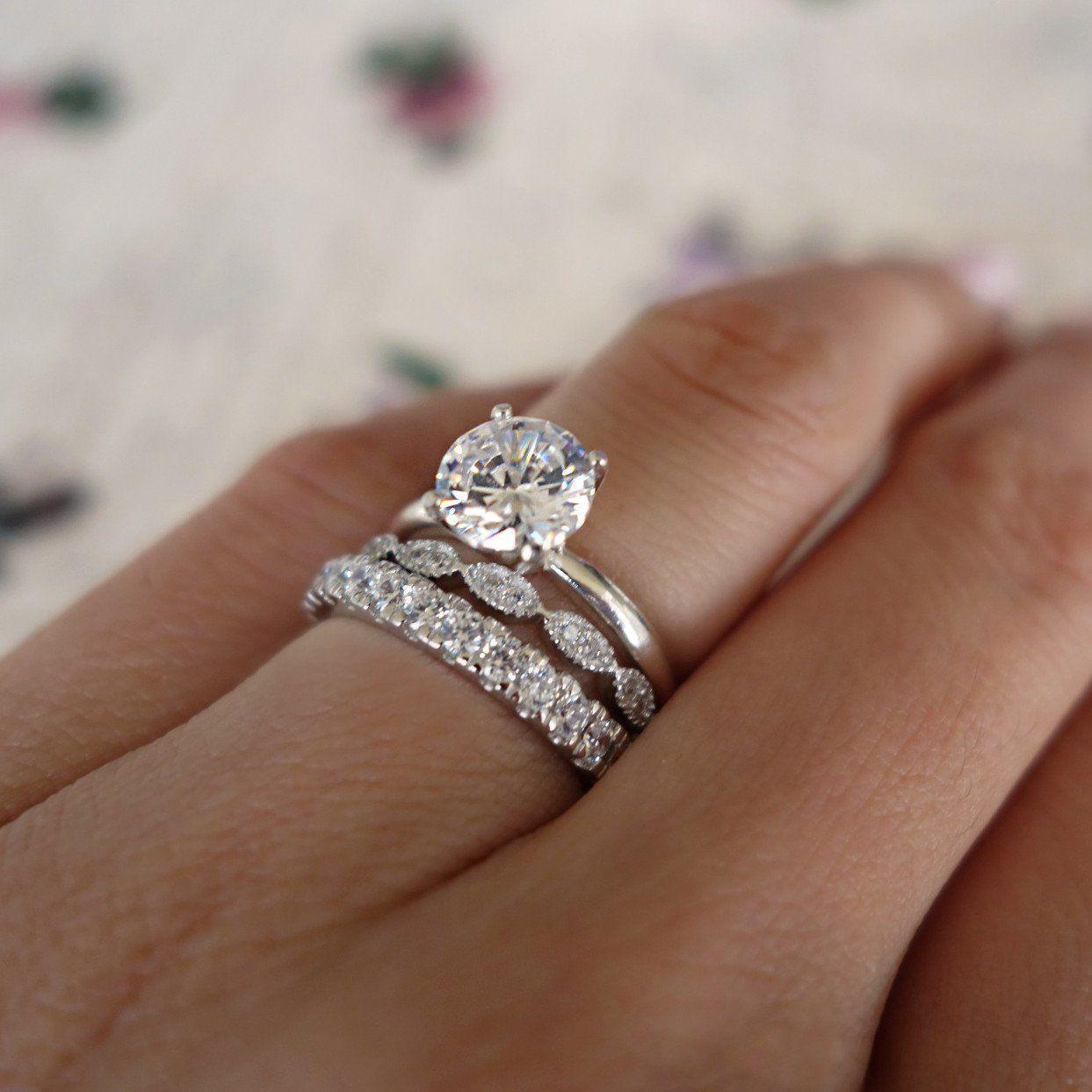 2 29 3pcs 10kt White Gold Filled White Sapphire Ring Set Women Wedding Jewelry Sz6 10 Ebay Fashion Big Wedding Rings Cool Wedding Rings Bridal Rings