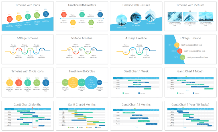 Timelines And Gantt Charts For Powerpoint  Flat Design