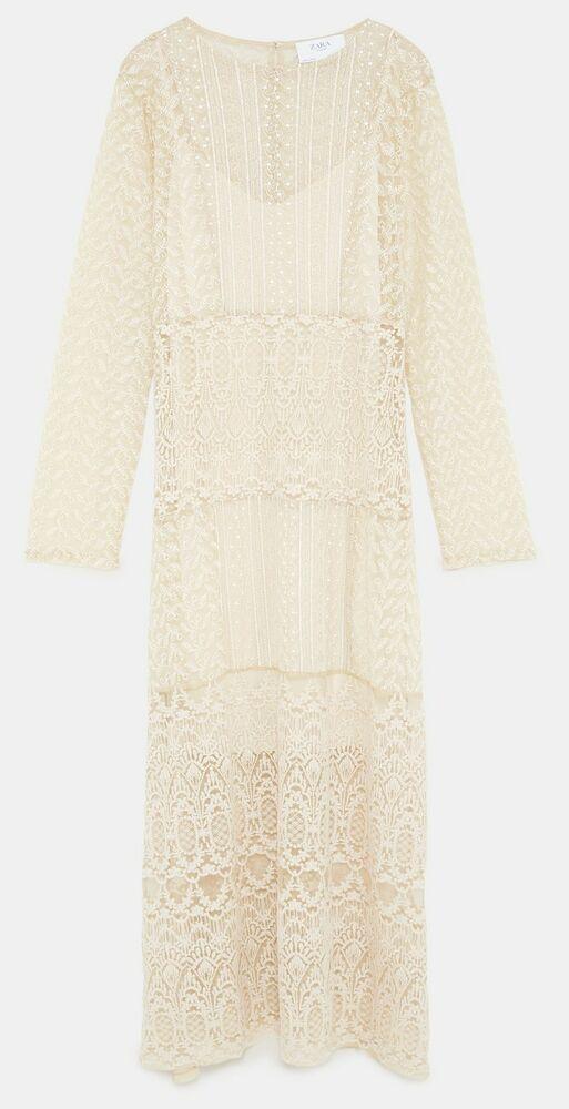 6386bbcd178f NWT ZARA LONG LACE Semi-Sheer Dress Vintage Style Size S Ref.3185 454  ZARA   BohoHippieMaxiDress  PartyCocktail