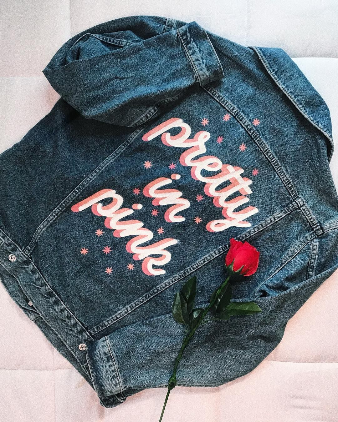 """LAUREN SCHNEIDER on Instagram: """"on fridays we're pretty in pink� • nothing like hand painted denim to accessorize in spring � let me paint for you - link in bio �"""""""