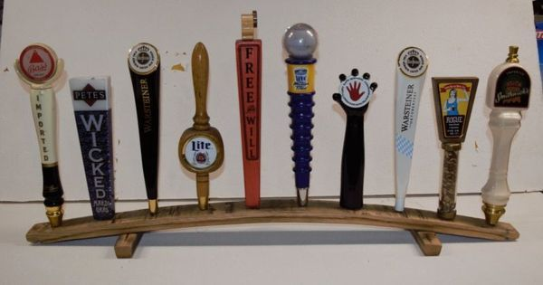 Details About Oak Whiskey Barrel Stave 10 Beer Tap Handle Display