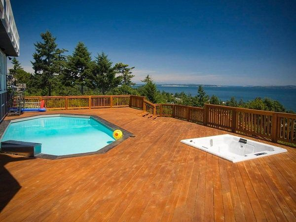 Contemporary Above Ground Pool Deck Plans Sloping Plot Deck Railing