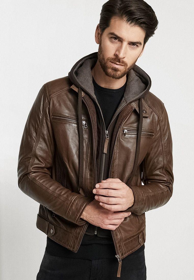 ERIC HOOD Leather jacket mocca Zalando.co.uk 🛒 in