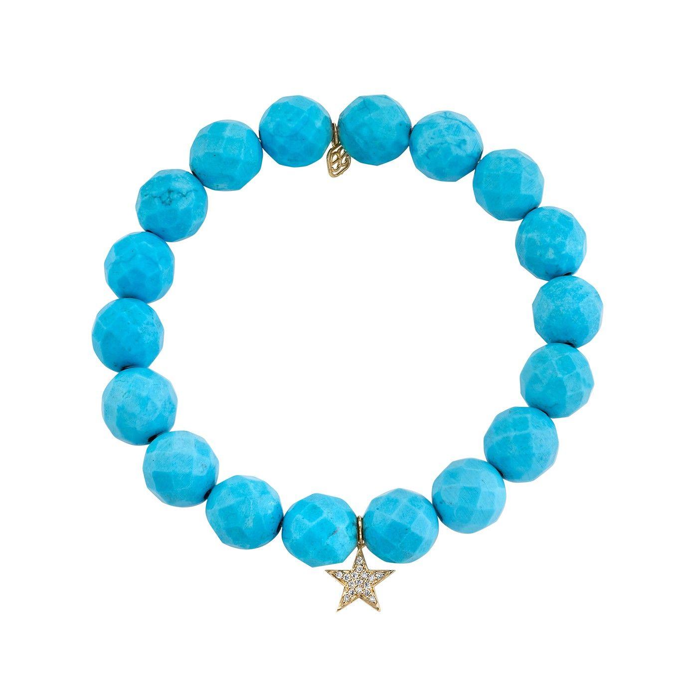 Yellow-Gold & Pave Diamond Star on Turquoise Magnesite