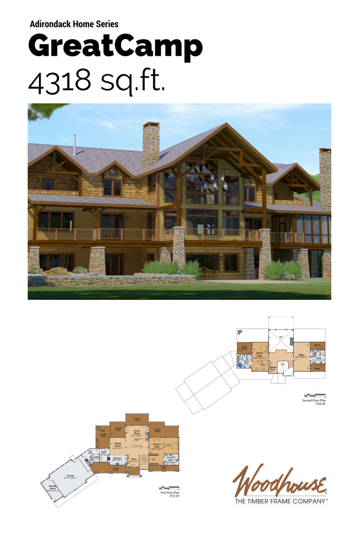 Timber Stone Log Siding And Twig Details Typify The Adirondack Style Initiated By The Industrialists And Financi Timber Frame Timber Frame Home Plans Timber