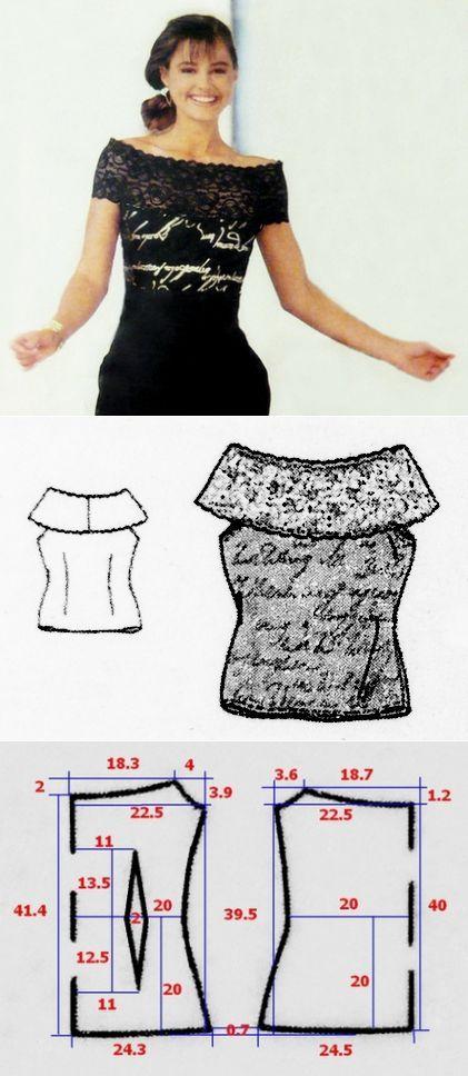 Camiseta top con el encaje ancho | Fusion of Styles | blusas ...