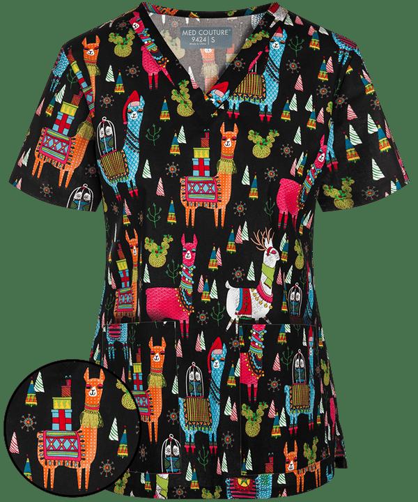 Christmas Scrub Tops Australia.Med Couture Llama V Neck Print Scrub Top Wardrobe Wishes