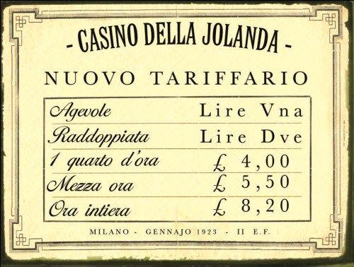 Targa tabella insegna in metallo riproduzione AVVISO CASINO BORDELLO ANNI /'20