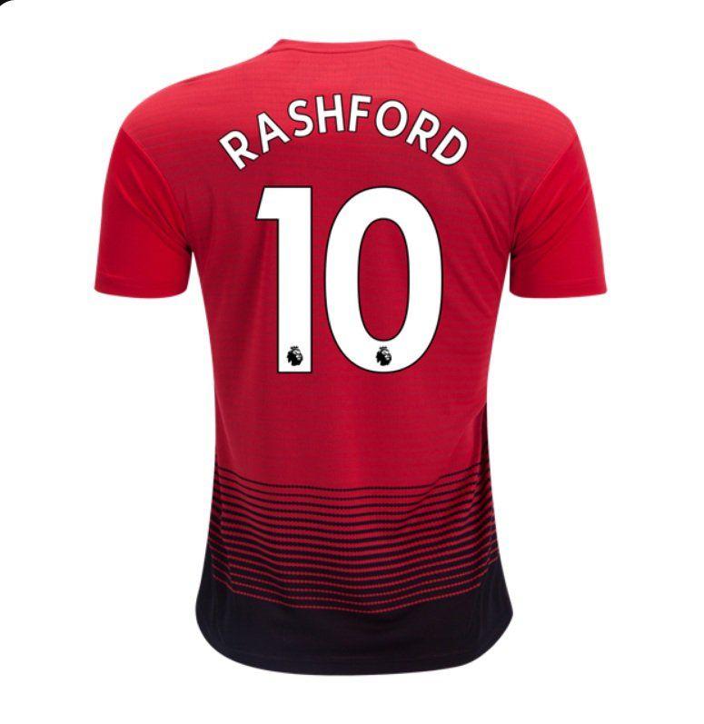 e2abb0079cd2d Marcus+Rashford+#10+Men's+2018-2019+Manchester+United+Home+Football +Shirt+–+Red