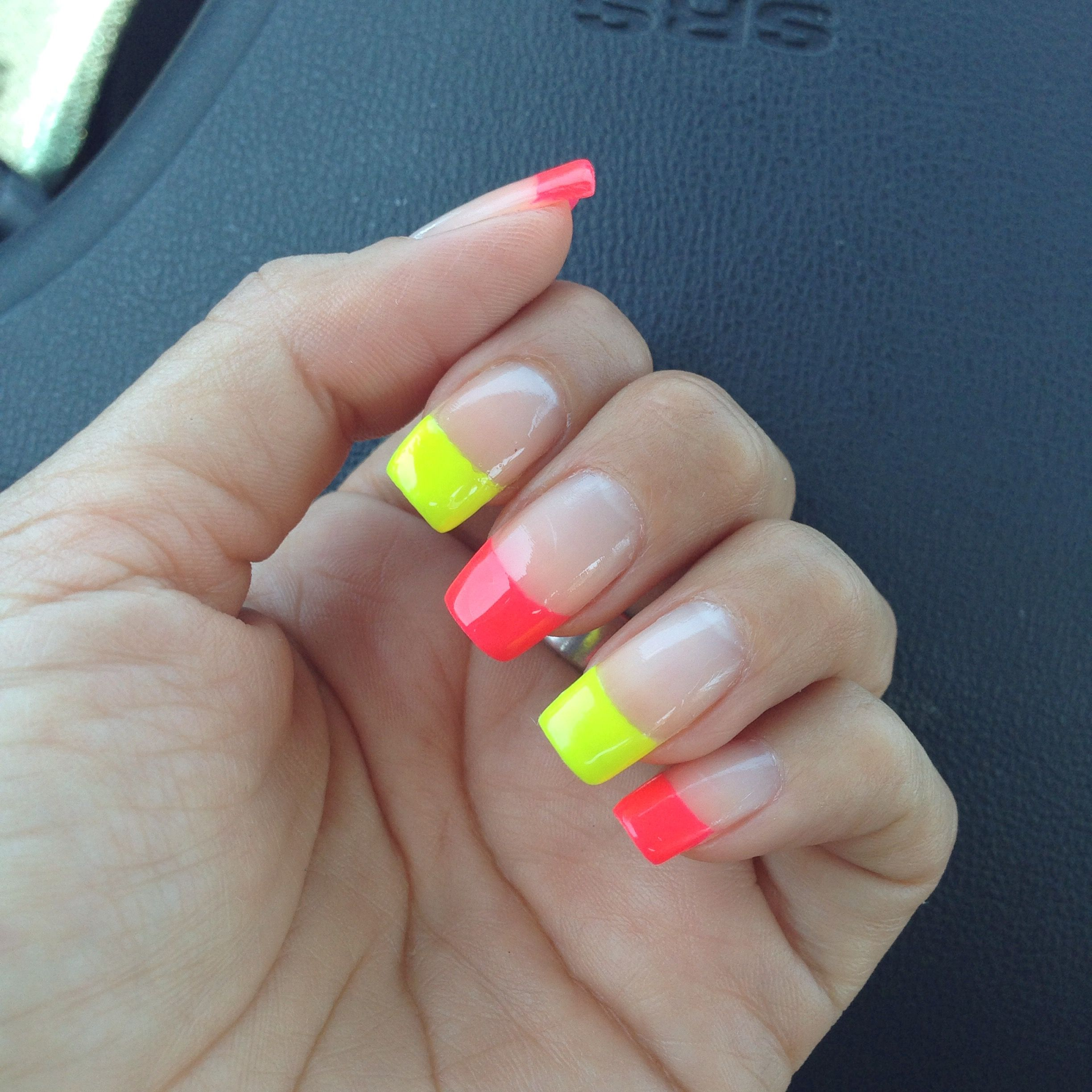 Neon French Manicure :) | Manicure, Fall nail colors, Neon ...