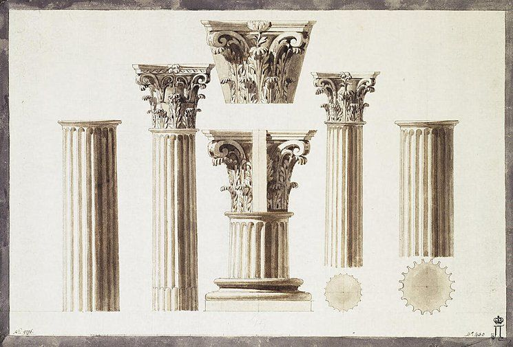 Draving-of-a-Corinthian-Column-with-a-Capital-and-a-Base.jpg (745 ...