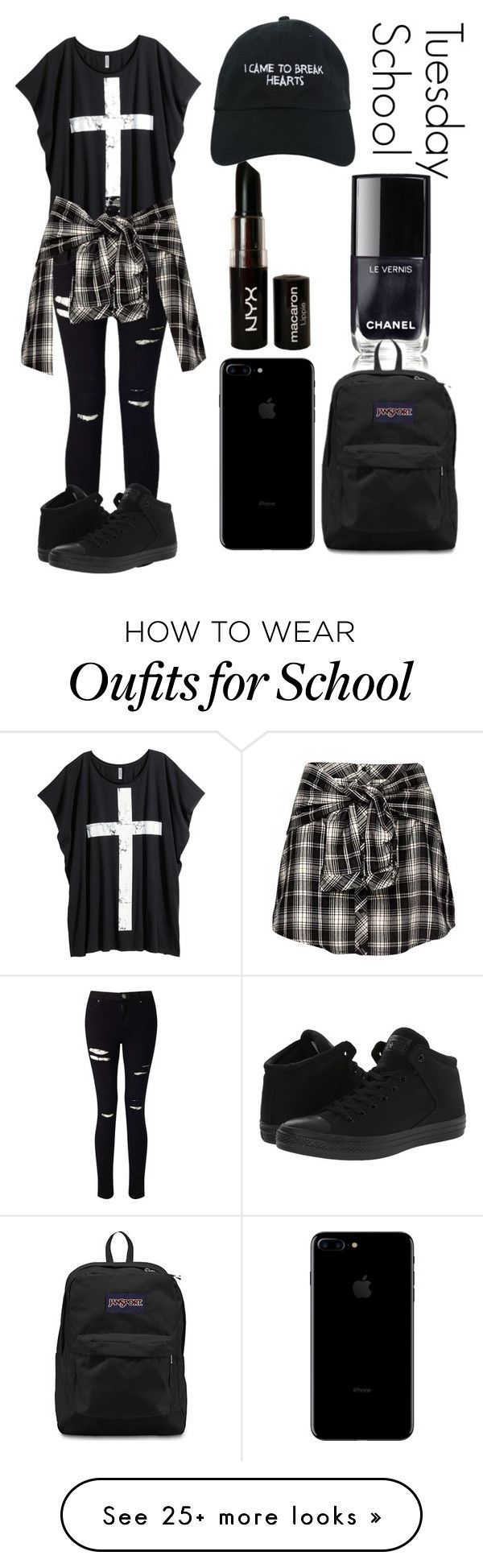Tuesday School by kellyaguilera on Polyvore featuring Miss Selfridge, H&M, NYX, Converse, JanSport, Nasaseasons, school, black, teen and emo #outfitswithhats