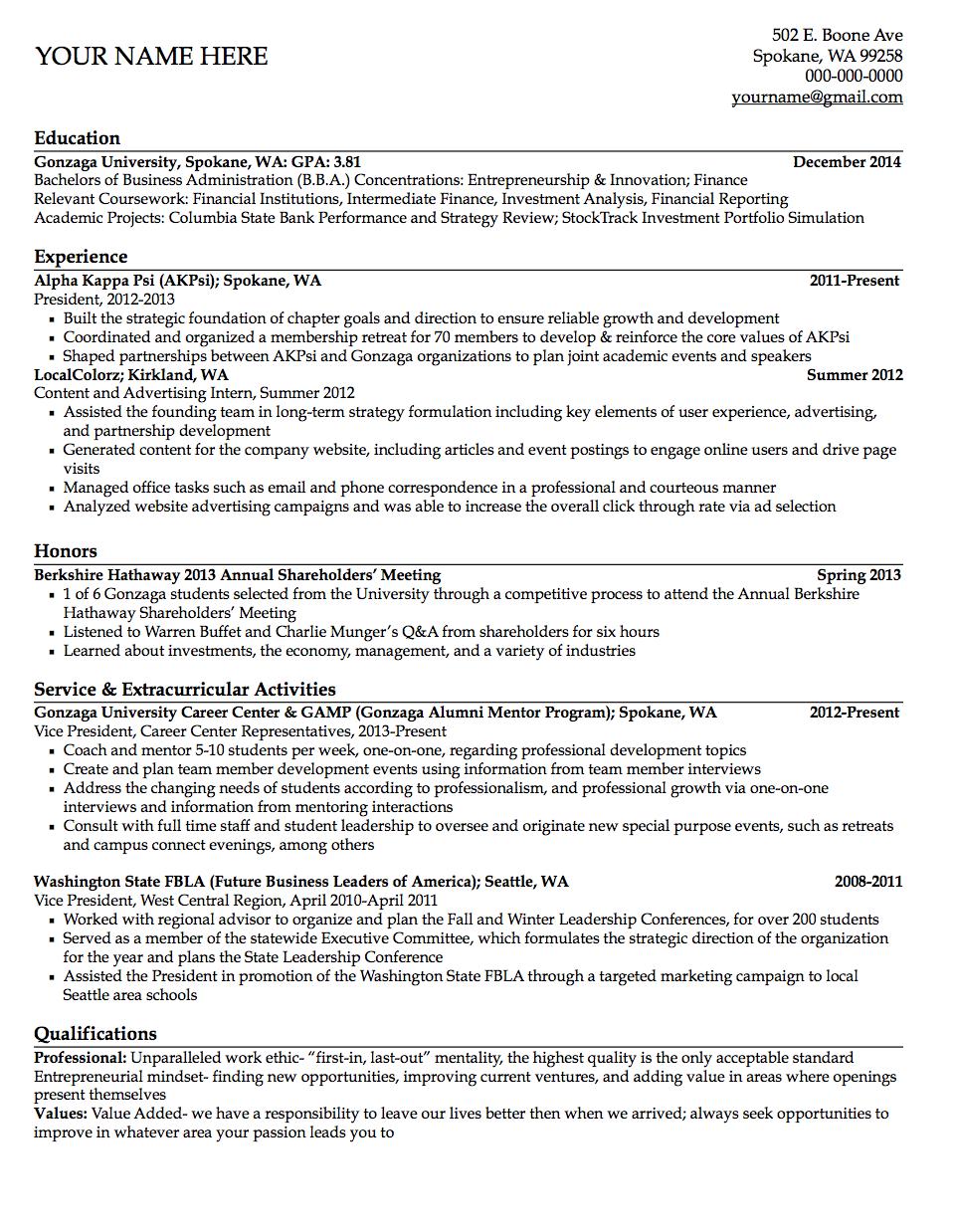 Gonzaga University Sample Student Resume Student Resume Template