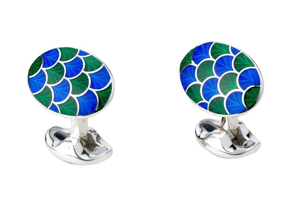 Sterling silver blue and green enamel cufflinks by Deakin & Francis.  Style Number:  270070