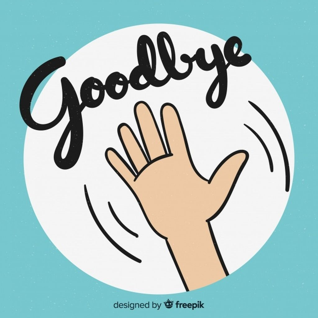 Goodbye cartoon hand lettering background paid ad