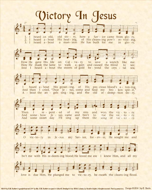 Lyric count your blessings hymn lyrics : Victory In Jesus - Christian Heritage Hymn, Sheet Music, Vintage ...