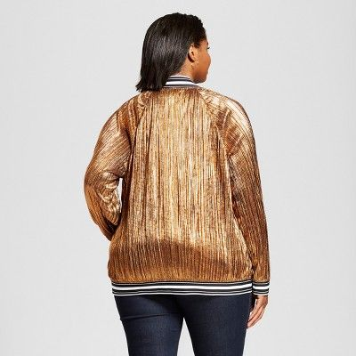df724e2400f Women s Plus Size Pleated Metallic Bomber Jacket - Ava   Viv Copper (Brown)  3X