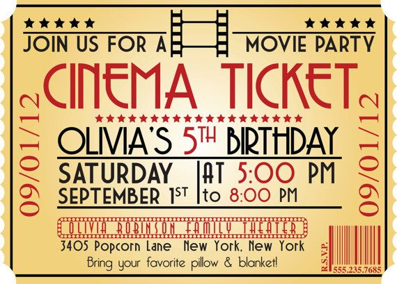MOVIE NIGHT Birthday Party Themed Invitation size 4x6 or 5x7 – Movie Ticket Invitation Template Free Printable