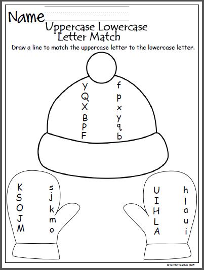 winter uppercase lowercase letter matching teaching pre k worksheets kindergarten. Black Bedroom Furniture Sets. Home Design Ideas