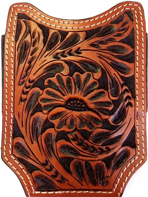 superior quality 4b7a0 caa35 Twisted-X Western Floral Tooled Leather Open-Top Cell Phone Case ...