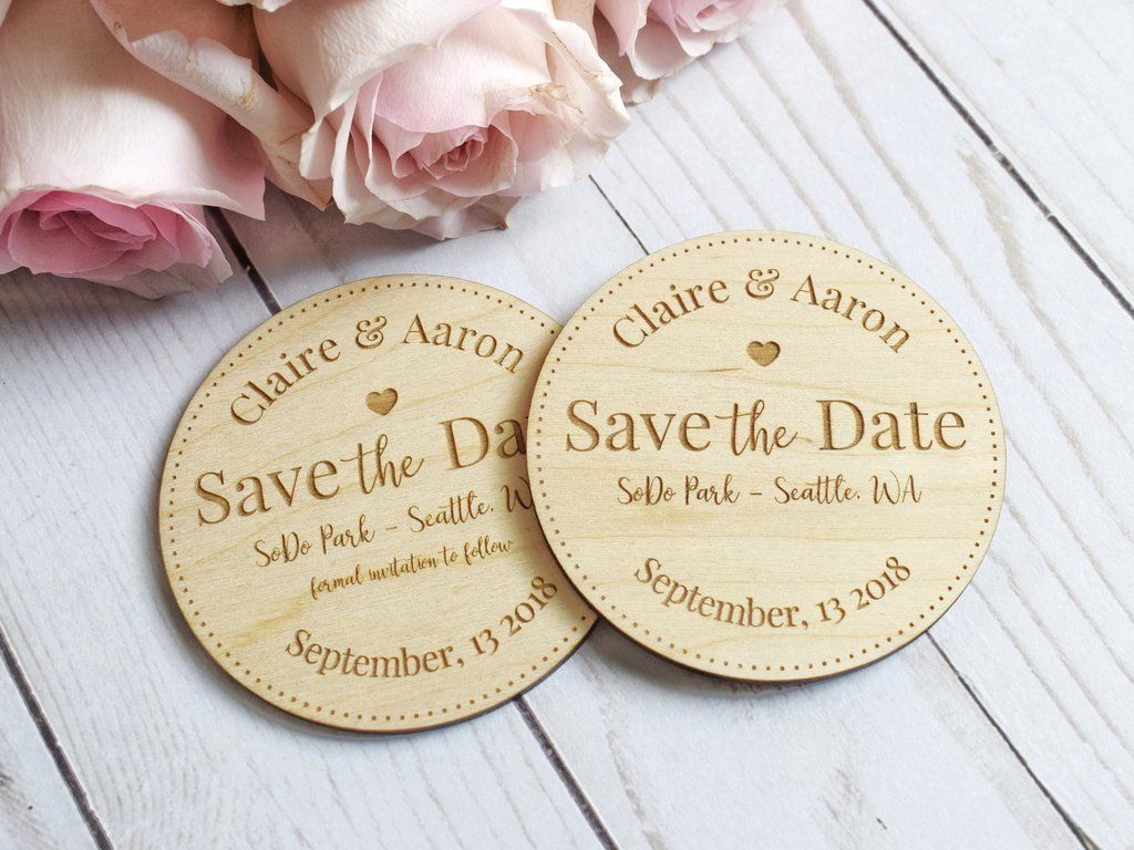 Laser engraved wood save the date save the date
