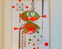 Atomic Retro Fish Painting, 5x7 print, Fishing For MOD, mid century modern design, Eames Style, Modern Ranch Wall Art