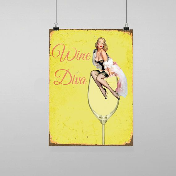 Wine Diva Pin Up Girl Sexy - Vintage Reproduction Wall Art Decro ...