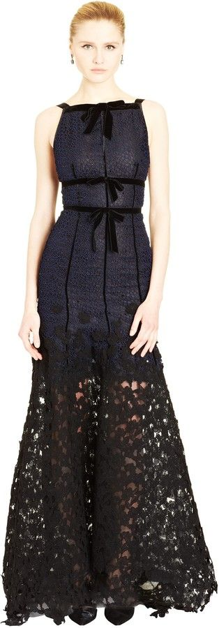 Velvet Bow & Sequin Embroidered Lace Gown