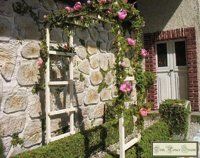 Arche et rosier grimpant dollhouse projects pinterest miniature gardens miniatures and - Arche pour rosier grimpant ...