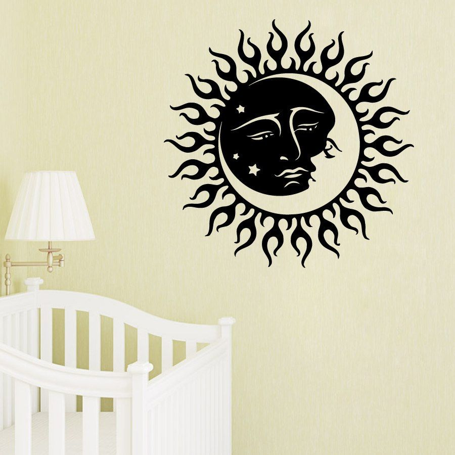 wall decals sun moon crescent dual ethnic stars night symbol  - wall decals sun moon crescent dual ethnic stars night symbol sunshine vinyl decalsticker mural bedroom