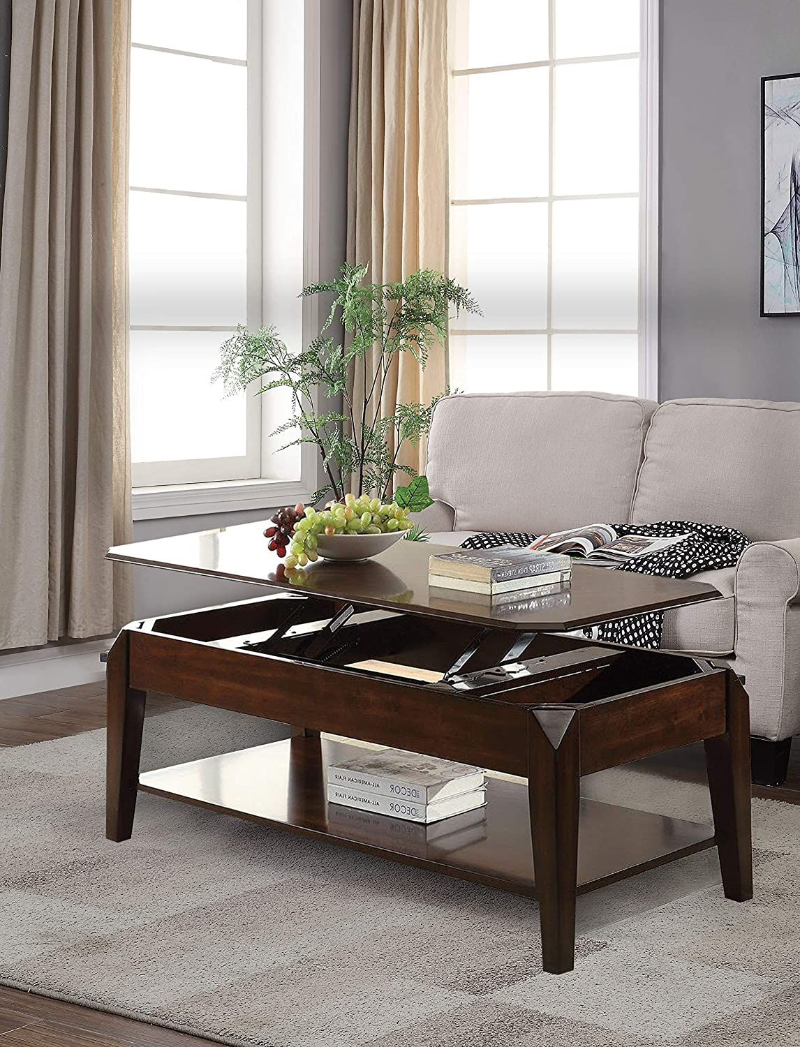 Henf Lift Top Coffee Table,Wood Home Living Room M