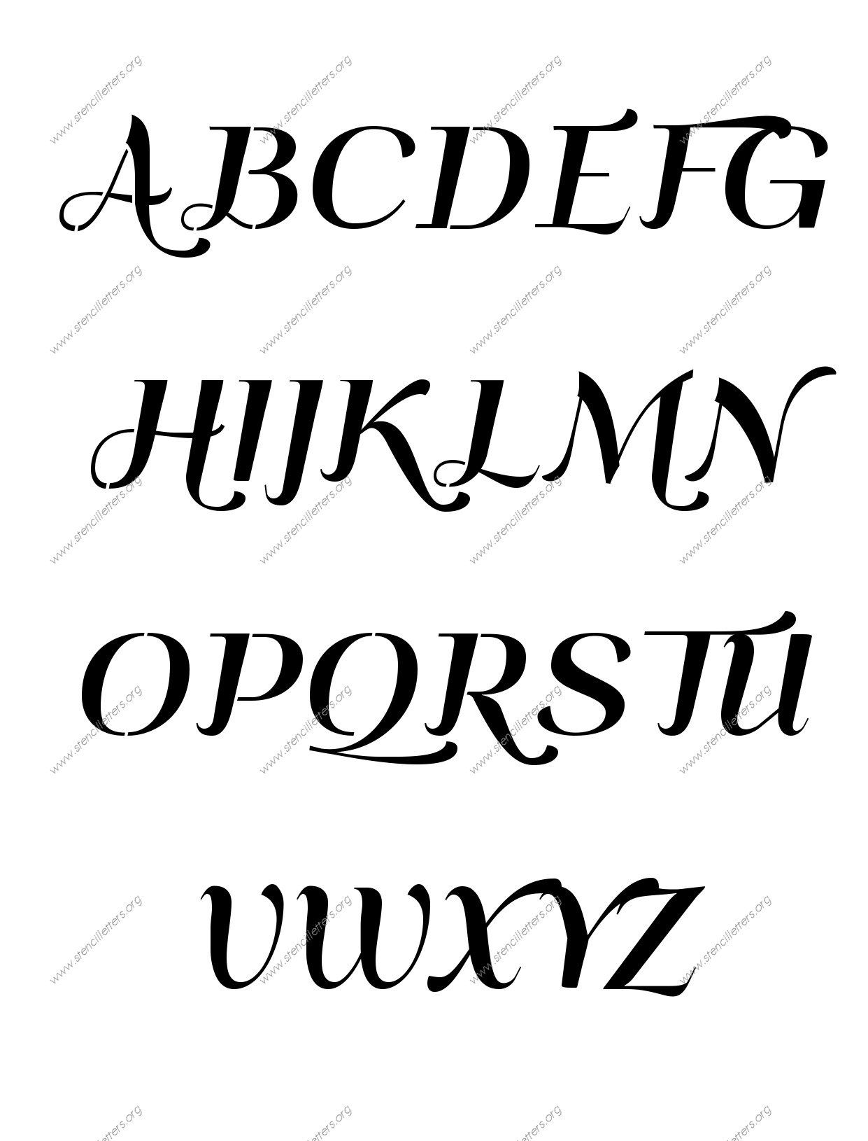 Art Deco Italic A to Z uppercase letter stencils | wine glass ideas ...