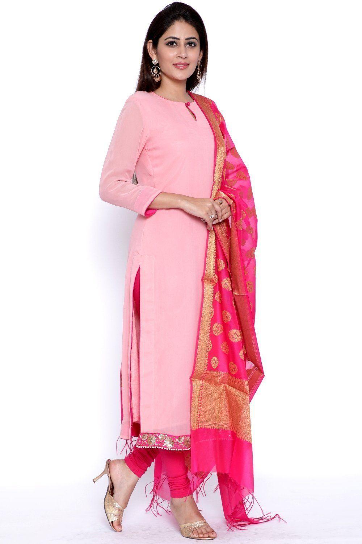 c087cbeb84 PeachesNPink Straight Kurti with Leggings and Pink Chanderi Banarsi Dupatta