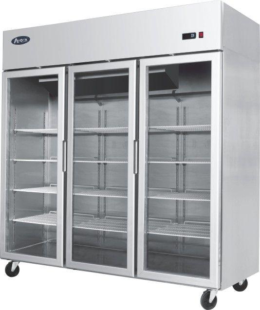 Atosa Ycf 9403 Triple Glass Door Fridge Industrial Kitchen Design Modern Refrigerators Glass Front Refrigerator