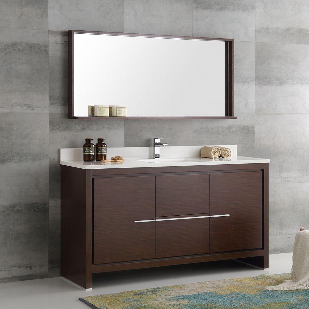 Fresca Allier Wenge Brown 60 Inch Modern Single Sink Bathroom