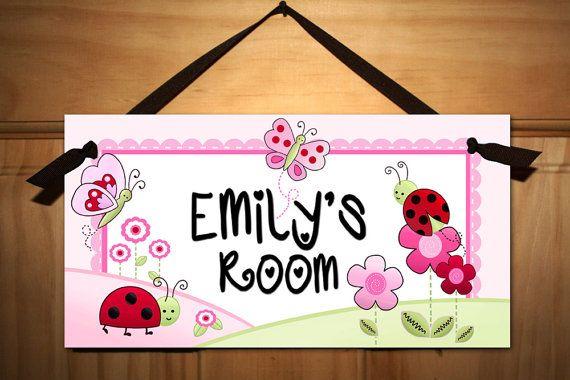 Pink Love Bugs Girls Bedroom Baby Nursery DOOR SIGN by ToadAndLily