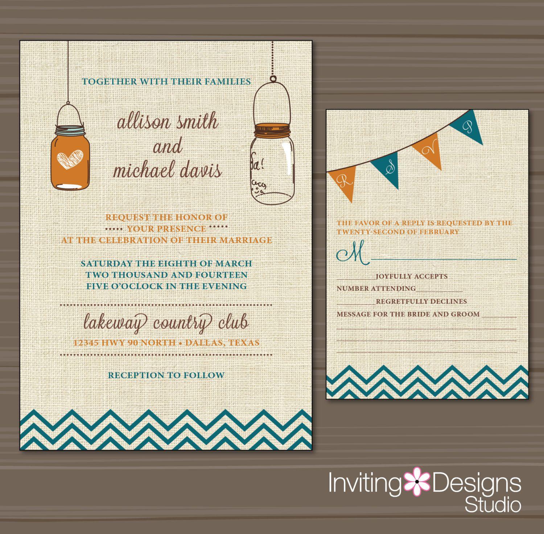 Mason Jar Wedding Invitation, Country, Rustic, Orange, Teal ...