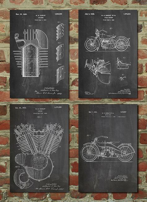 Harley Davidson Patent Posters Group of 4, Harley Davidson Sign - Equipment Bill Of Sale