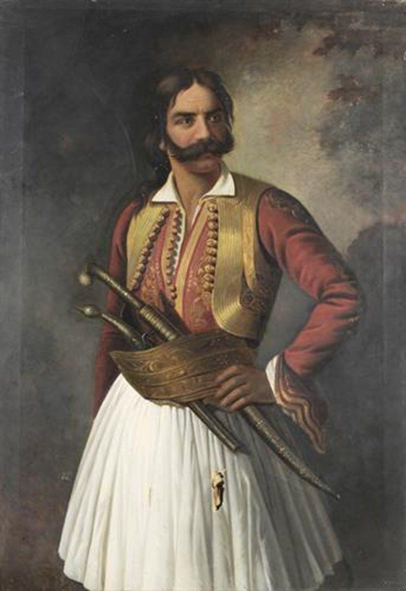 Προσωπογραφία του Κυριακούλη Μαυρομιχάλη, ελαιογραφία σε μουσαμά. | Greek  history, Albanians, Greek independence