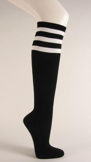 60b34eac0 Black with white 3line striped knee high socks Knee Sock shop ...