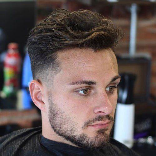 Messy Brushed Back Hair Low Fade Haircut Wavy Hair Men Short