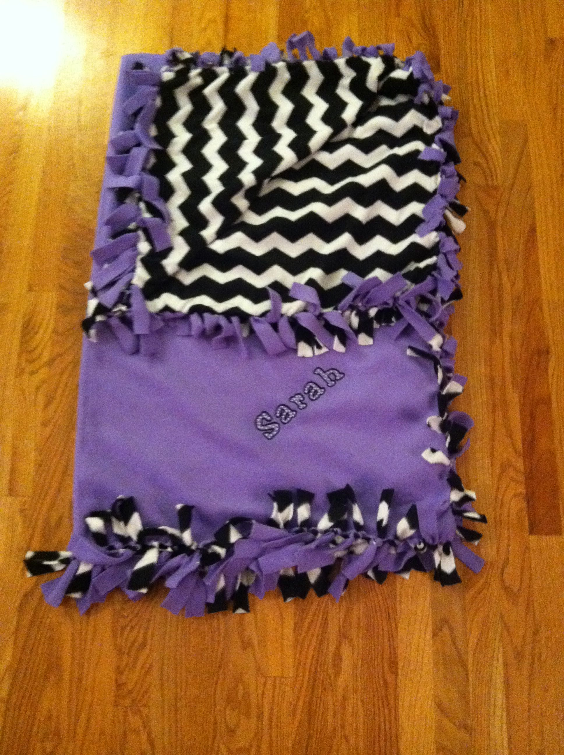 diy tie blanket ! just pick two fabrics and cut and tie ! monogram
