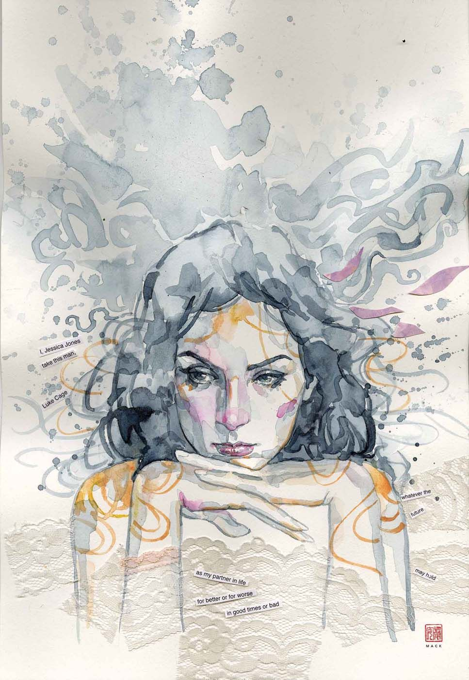 Watercolor book covers - Jessica Jones 5 Cover By David Mack