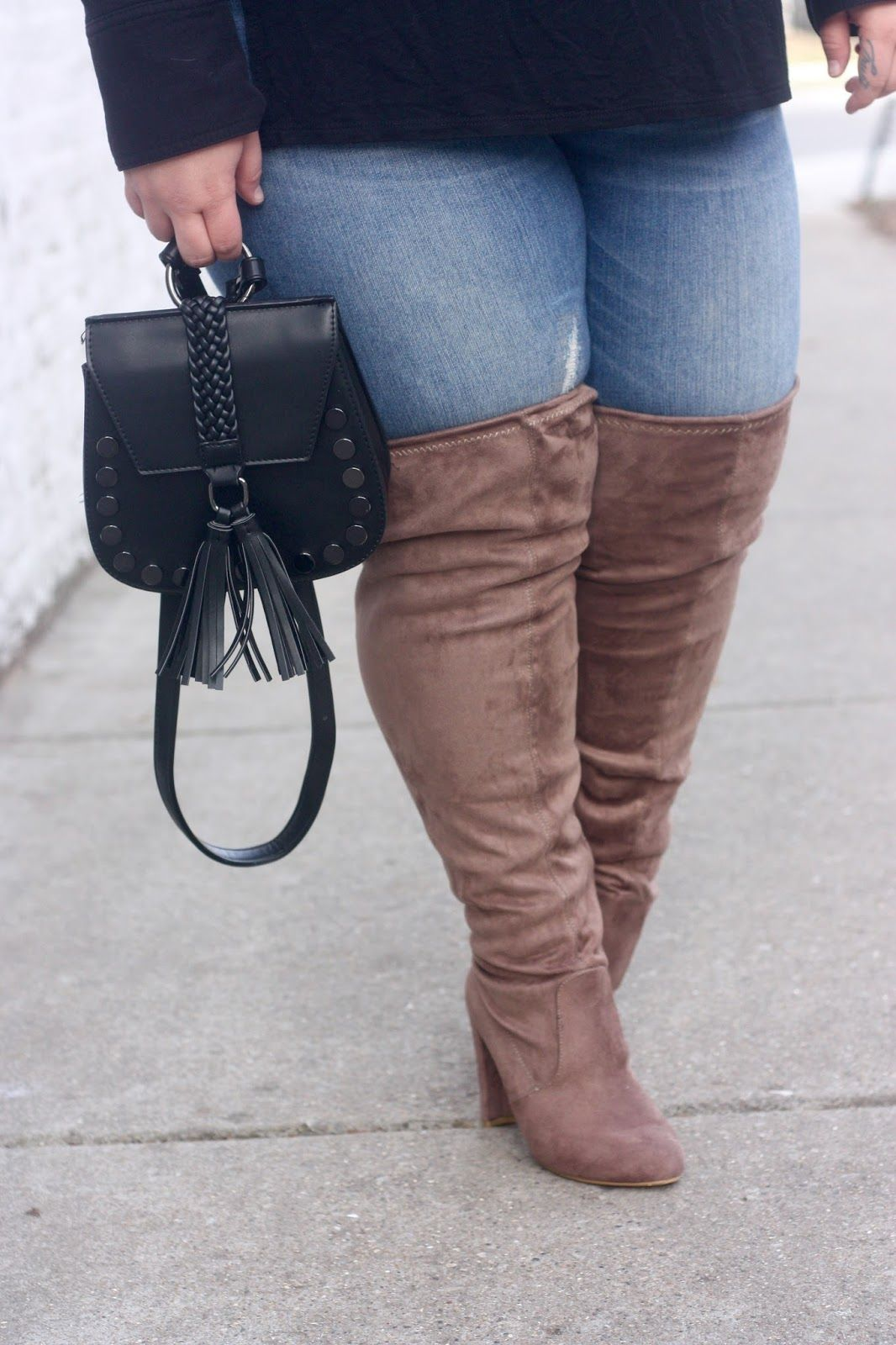 style jacket wide calf thigh high boots