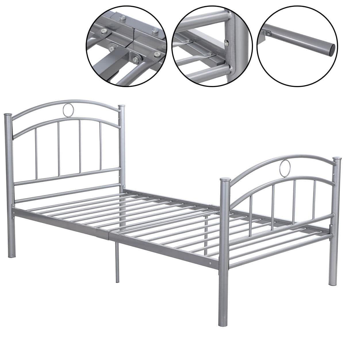 Costway 83\'\'x42\'\'x35\'\' Black Metal Bed Frame Platform Twin Size ...