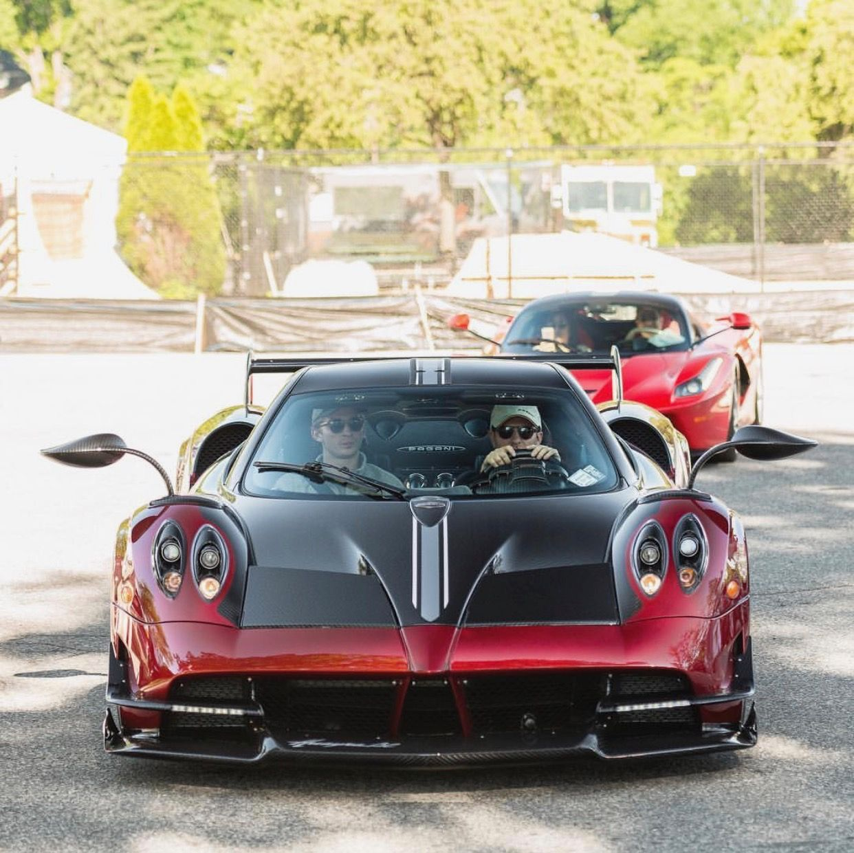 Pagani Huayra BC painted in Rosso Dubai w/ exposed Carbon Fiber and