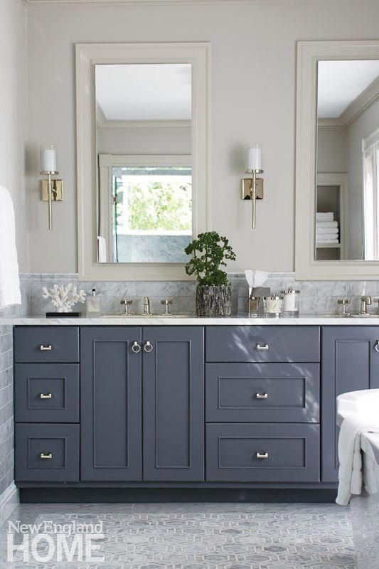 Master Bathroom With Dark Gray Vanity Light Gray Floors Two Mirrors Over The Double Sink In 2020 Grey Bathroom Vanity Dark Gray Bathroom Double Sink Bathroom Vanity