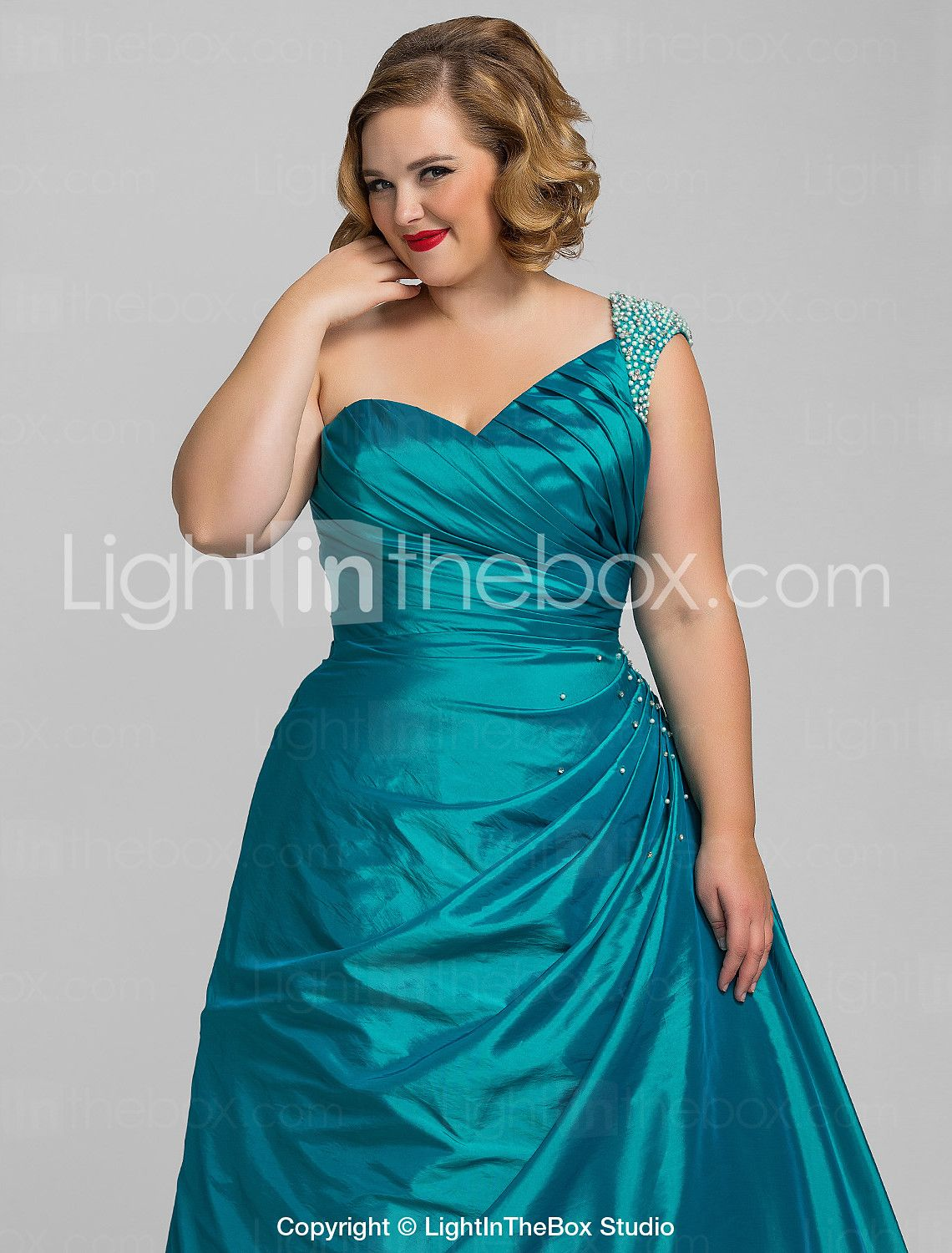 Plus Size Ball Gown Ball Gowm One Shoulder Taffeta Evening/Prom ...