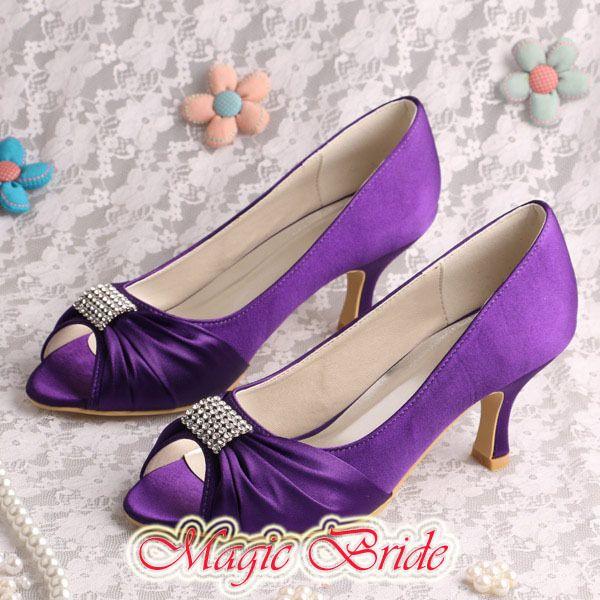 Peep Toe Wedding Bridesmaid Shoes Purple Medium Heel Size 8 Affiliate